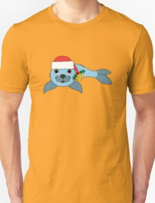 Light Blue Baby Seal with Santa Hat, Holly & Gold Bell T-Shirt
