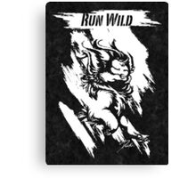 Run Wild (White/Black) Canvas Print