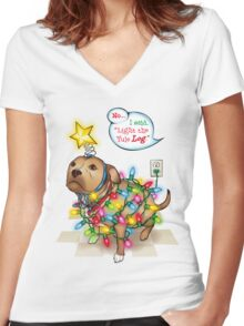 Yule Dog Women's Fitted V-Neck T-Shirt