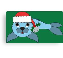 Light Blue Baby Seal with Santa Hat, Holly & Silver Bell Canvas Print