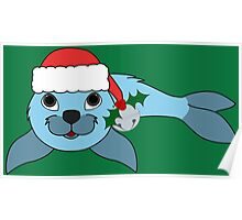 Light Blue Baby Seal with Santa Hat, Holly & Silver Bell Poster