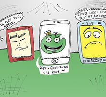 Apple hp HTC smartphones caricature by Binary-Options