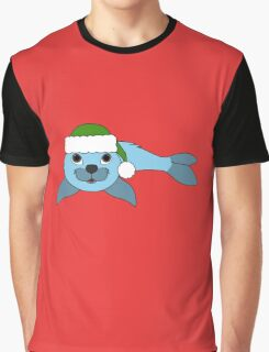 Light Blue Baby Seal with Christmas Green Santa Hat Graphic T-Shirt