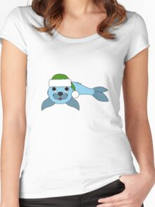 Light Blue Baby Seal with Christmas Green Santa Hat Women's Fitted Scoop T-Shirt