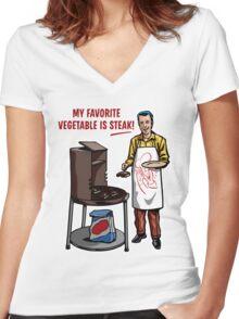 Steak! Women's Fitted V-Neck T-Shirt