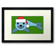 Light Blue Baby Seal with Christmas Red Santa Hat Framed Print