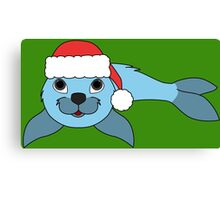 Light Blue Baby Seal with Christmas Red Santa Hat Canvas Print