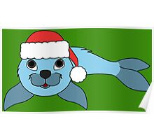 Light Blue Baby Seal with Christmas Red Santa Hat Poster