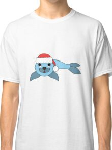 Light Blue Baby Seal with Christmas Red Santa Hat Classic T-Shirt