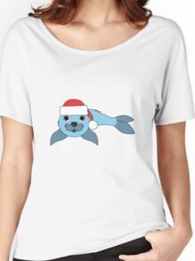 Light Blue Baby Seal with Christmas Red Santa Hat Women's Relaxed Fit T-Shirt