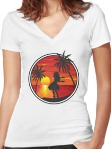 Hawaiian Sunset Women's Fitted V-Neck T-Shirt