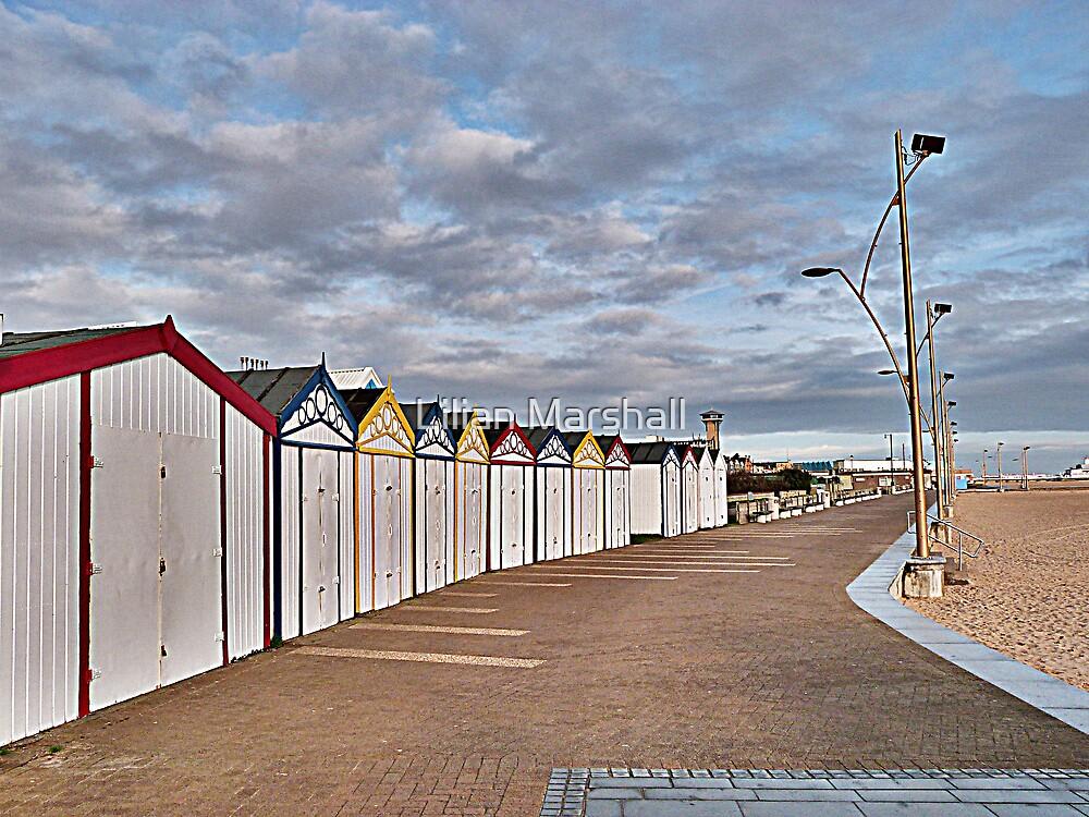 Great Yarmouth Beach Huts. by Lilian Marshall