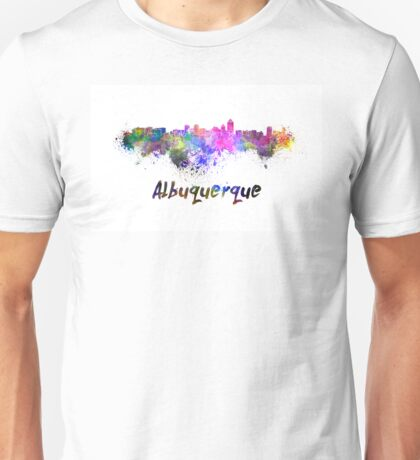 Albuquerque skyline in watercolor Unisex T-Shirt