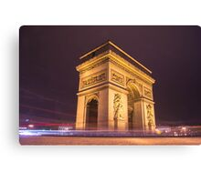 arch de triomphe in paris france at night  Canvas Print
