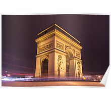 arch de triomphe in paris france at night  Poster