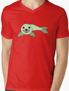 Light Green Baby Seal Mens V-Neck T-Shirt