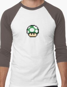 Pixel Mario Mushroom Green 1up Men's Baseball ¾ T-Shirt