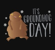 It's GROUNDHOG DAY! with cute little groundhog and snowflakes Kids Tee