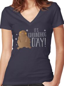 It's GROUNDHOG DAY! with cute little groundhog and snowflakes Women's Fitted V-Neck T-Shirt