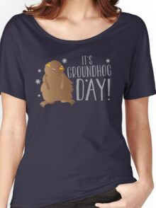 It's GROUNDHOG DAY! with cute little groundhog and snowflakes Women's Relaxed Fit T-Shirt