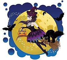 Witch and Full Moon 5 Photographic Print