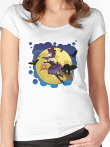 Witch and Full Moon 5 Women's Fitted Scoop T-Shirt
