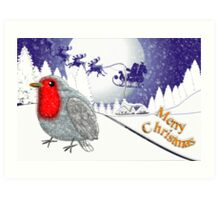 Merry Christmas from the Baby Robin card Art Print