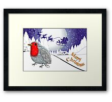 Merry Christmas from the Baby Robin card Framed Print