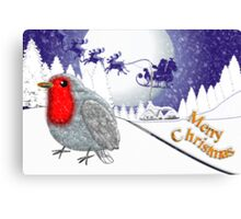 Merry Christmas from the Baby Robin card Canvas Print