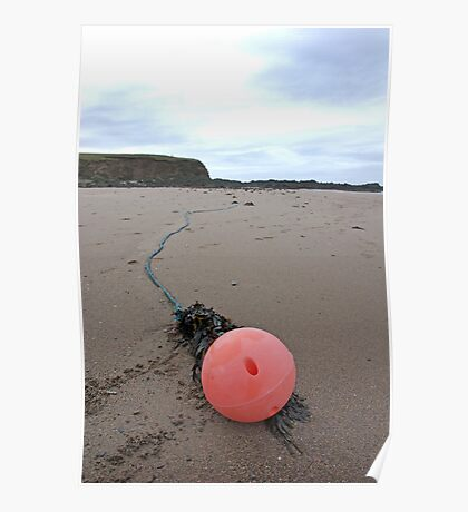 Discarded fishing buoy on beach, Bantham, Devon, UK Poster