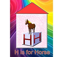 H is for Horse Play Brick Photographic Print