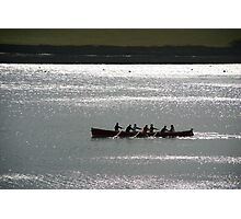 Silhouette of Gig boat racers, St Mawes, Cornwall Photographic Print