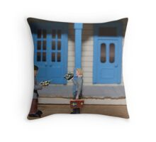 New to America but excited to embrace the unfamiliar holiday, Sven and Ole celebrate a Happy Tanksgiving. Throw Pillow