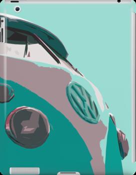 Aqua VW Split iPad Case by Joe Stallard