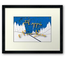 Happy New Year from a Snowy Countryside Framed Print