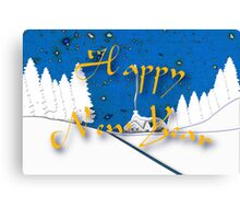 Happy New Year from a Snowy Countryside Canvas Print