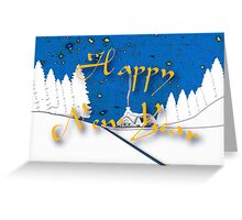 Happy New Year from a Snowy Countryside Greeting Card
