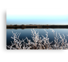 frosty branches in snow against cold blue sky and river Canvas Print