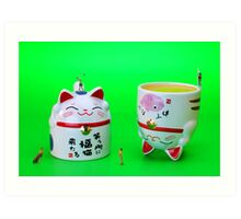 Playing golf on cat cups Art Print