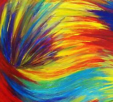 RAINBOW EXPLOSION - Vibrant Smile Happy Colorful Red Bright Blue Sunshine Yellow Abstract Painting  by EbiEmporium