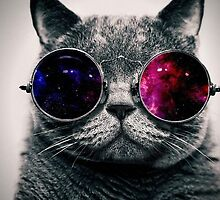 Cat with glasses seeing space by artkid