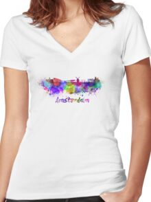 Amsterdam skyline in watercolor Women's Fitted V-Neck T-Shirt