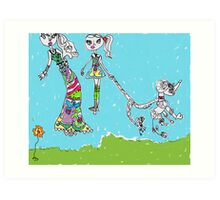 Barbie and Poodle Art Print