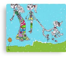 Barbie and Poodle Canvas Print