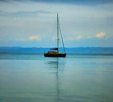 Still water with Yacht by Dave Rowley