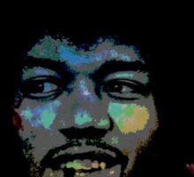 Jimi Hendrix in space fan art Sticker