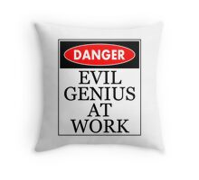 Danger - Evil genius at work Throw Pillow
