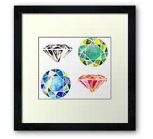 Watercolor Diamonds – April Birthstone Framed Print