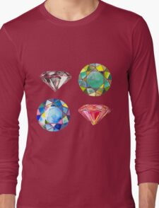 Watercolor Diamonds – April Birthstone Long Sleeve T-Shirt