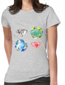 Watercolor Diamonds – April Birthstone Womens Fitted T-Shirt